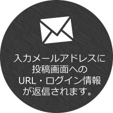 入力メールアドレスに投稿画面へのURL・ログイン情報が返信されます。